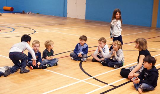 young children doing activities in the Radmoor sports hall